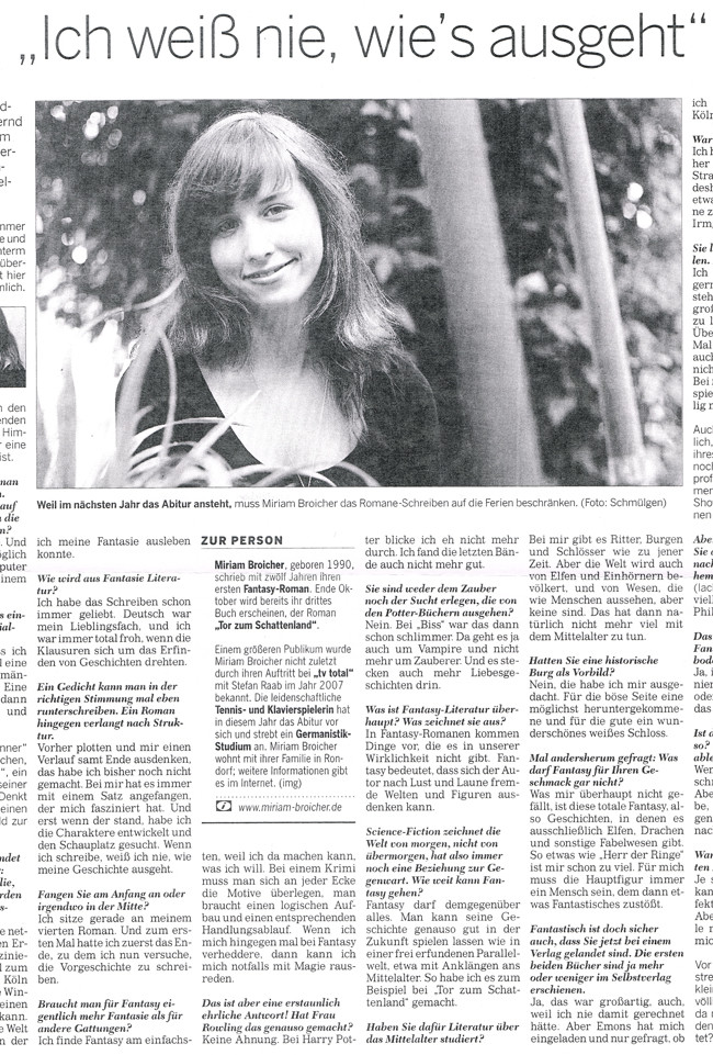 Presseartikel Kölnische Rundschau vom 19.9.2009