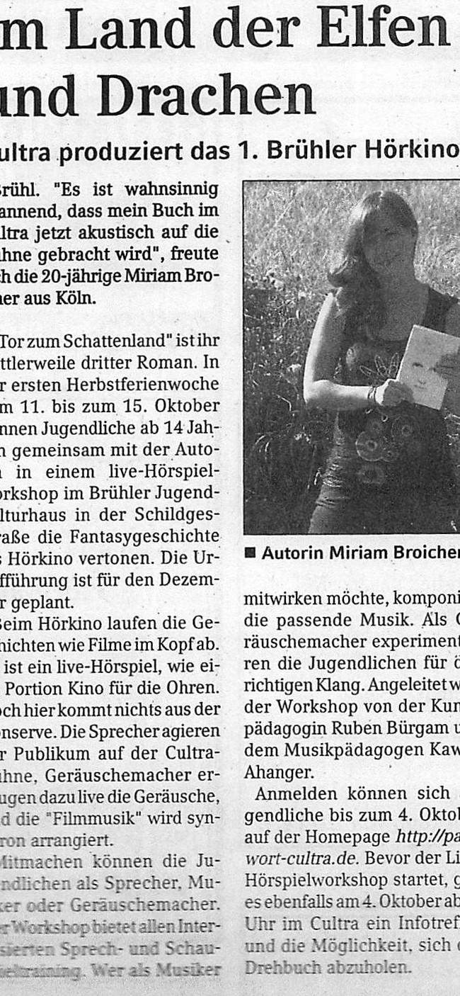 Presseartikel Brühler Schlossbote vom 29.9.2010