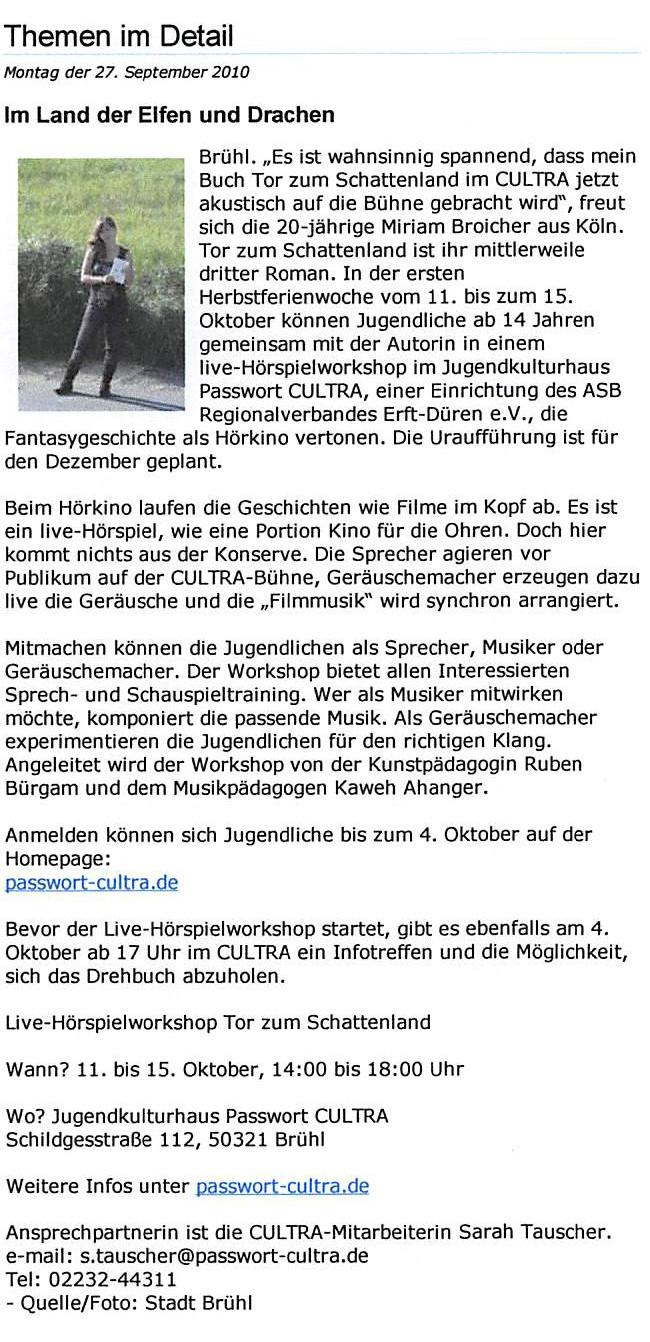 Presseartikel in Pulheim Online vom 27.9.2010